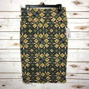 Lularoe Cassie Skirt fitted pencil gray green nwt